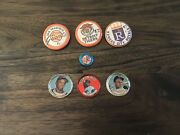 Lot Of 7 Vintage Baseball Sports Buttons Pins Bottle Tops