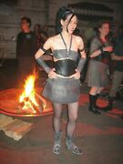 Mad Max Black Gothic Industrial Recycled Rubber Outfit Top Skirt Set Burning Man