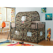 Saltoro Sherpi Camouflage Metal And Fabric Tent Loft Bed Multicolor