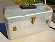 Vintage Aluminum Silver Fishing Tackle Box Nice Looking Box 4 Trays 29 Holders