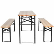 Costway 3pcs Outdoor Wood Dining Set W/ Table Benches Picnic Bbq Party