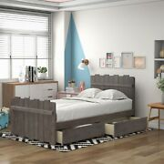Twin Size Platform Bed With Drawers Vintage Fence-shaped Headboard And Footboard