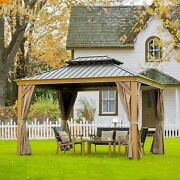 Outdoor Hardtop Gazebo For Patio With Canopy Privacy Curtains And Netting