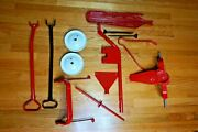 Red Wagon For Parts Turntable/handle/rear Axle/wheels And Extras Parts Only