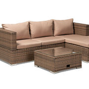 Brown Finished 3-piece Woven Rattan Outdoor Patio Set With Adjustable Recliner