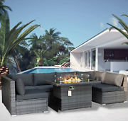 Large Size Grey Color Pe Wicker Conversation Sets Patio Sofa With Gas Fire Pit