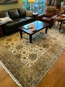 Room Size Hand Knotted Carpet Gold/green/rust Indo-tabriss/agra 13 Ft. X 9.5 Ftandnbsp