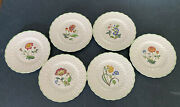 Vintage Copeland Spode Floral Dinner Plates Signed A . Ball And Numbered Set 6