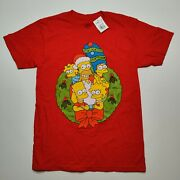 The Simpsons Menand039s Small Christmas Holiday Family Portrait Cotton Red Tee New