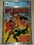 Spy Smasher 1 Cgc 5.0 Off White Pages 1941fawcett Wwii-silver Metallic Cover