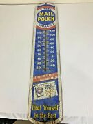 Vintage Large Chew Mail Pouch Tobacco 1950and039s Thermometer Signandnbspmetal 39