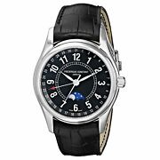 Frederique Constant Menand039s Fc-330b6b6 And039indexand039 Black Leather Watch