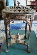 Elegant Antique Silverplate Warming Stand Lion Heads And Clawed Paw Feet