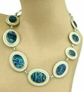 Gurhan Surf Paua Shell Sterling And 24k Gold Overlay Discs Necklace Rt. 4195