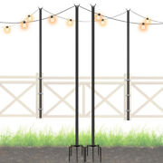 Outdoor 9ft String Lights Pole Outside Stainless Steel String Lights Pole Stand