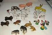 Vintage Plastic Hong Kong Animals Cows Horses Bears Chickens Pigs Dogs 24 Pcs