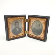 Pair Of 19th Century 1/9 Plate Daguerreotypes In Union Case By A.p. Critchlow