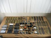 Antique Salvaged Door Knobs Amethyst And Brass Hardware Hinges 70+ Pieces Lot C