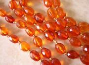 Very Long Antique Natural Amber Necklace 70 Ins 87gms Cognac Faceted Beads