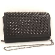 Christian Louboutin Paloma Clutch Chain Shoulder Black Red Study