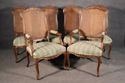 Nice Quality Set 8 French Louis Xv Style Cane Back Dining Room Chairs Circa 1950