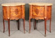 Pair Fine French Inlaid Burled Walnut Breche Marble Top Nightstands End Tables