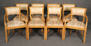 Set Of 8 Blonde Mid-century Modern Hollywood Regency Dining Chairs C1950s