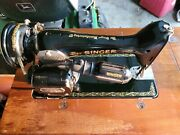 Vintage 1950 Singer Sewing Machine Model 66-16 In Cabinet, Working Condition