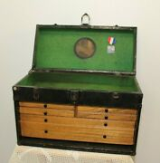 Antique Wood Oak Metal Tool Machinist Chest Watch Jewelry Box 6 Drawers Vintage