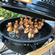 Bbq Chicken Leg Wing Grill Rack Barbecue Drumstick Holder Roaster Stand Drip Pan