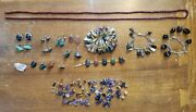 Mixed Polished Stone Jewelry Lot Vintage Earrings Bracelet Loose Stones And More