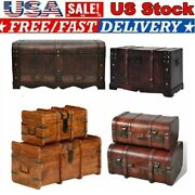 Coffee Table Furniture Wooden Storage Treasure Chest Large Trunk Vintage Box New