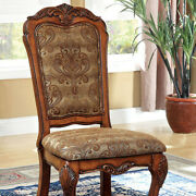 Medieve Traditional Side Chair Antique Oak Finish Set Of 2