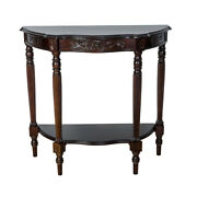 Saltoro Sherpi Half Crescent Moon Shape Engraved Wooden Console Table With 1