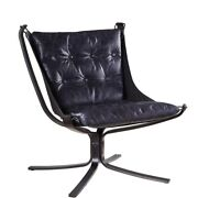 Saltoro Sherpi Star Base Metal Accent Chair With Faux Leather Seating Blue And