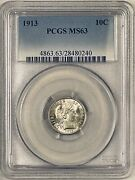 1913 Barber Dime Good Luster And Toning Pcgs Ms63 Better Coin