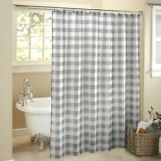 Farmhouse Gray Check Pattern Shower Curtain For The Bathroom