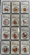 Ngc Pf70 2009-2020 China Lunar Series Silver Colorized Coins Set Total12 Pieses