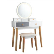 Vanity Table Set 3 Color Lighting Modes Round Mirrored Makeup Table And Stool Set
