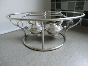 Antique French Silver Plated Rotating Double Spirit Burner Chafing Food Warmer C