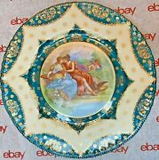 Royal Vienna Handpainted Plate By Kaufmann 1800and039s Beehive Mark 12.5andrdquo