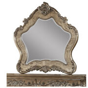 Saltoro Sherpi Wooden Mirror With Scrollwork Crown And Trim Details, Brown And