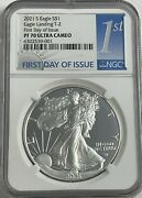 2021 S 1 Ngc Pf70 Fdoi Ultra Cameo First Day Proof Silver Eagle Landing Type 2