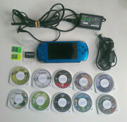Blue Sony Psp Slim 3001 Bundle 3 Memory Cards And 10 Games Car Charger No Battery