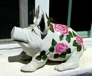 Attributed To Wemyss Pottery Large 15 Long Unsigned Antique Ceramic Pig W Roses