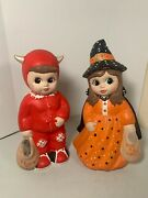 Vintage Ceramic Devil And Witch Boy Andgirl Halloween Trick Or Treaters Hand Painted