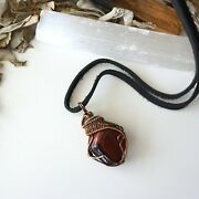 Red Tigers Eye Crystal Necklace - Antique Bronze Silver - Designs By Nature Nwt