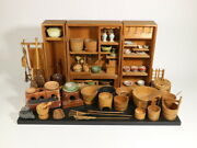 Japanese Tradition Miniature Kitchen Of Period Toy Antique Doll Houses Tea Props