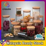 Crossto Container Airtight Glass Spice Dry Food Condiment Jars Bottle Bamboo Lid