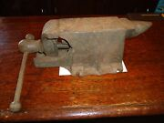 Antique 380-a Bench Vise Anvil Combo 3 Jaw Patented Aug 20 1912 Cast Iron